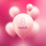8 Maart Internationale vrouwendag Vector roze Vliegende Ballons met woord 8 maart Royalty-vrije Stock Afbeeldingen