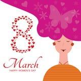 8 maart Internationale women' s dag Witte en roze kleuren vector illustratie