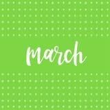 maart Met de hand geschreven abstract patroon met maart-citaat stock illustratie