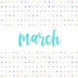 maart Met de hand geschreven abstract patroon met maart-citaat vector illustratie