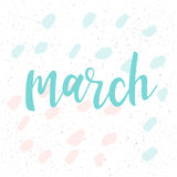 maart Met de hand geschreven abstract patroon met maart-citaat en handdr. vector illustratie