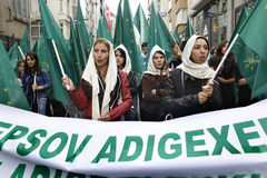 Maart om volkerenmoord te protesteren Circassian Stock Foto's