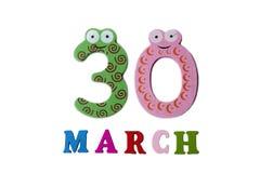 30 maart, op een witte achtergrond, getallen en letters Royalty-vrije Stock Afbeelding