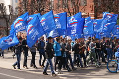 Maart op 1 Mei in Cheboksary royalty-vrije stock foto