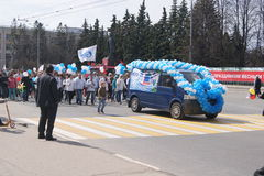 Maart op 1 Mei in de stad van Cheboksary stock fotografie