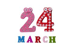 24 maart op witte achtergrond, getallen en letters Royalty-vrije Stock Foto's