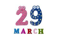 29 maart op witte achtergrond, getallen en letters Royalty-vrije Stock Foto's