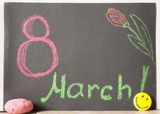 8 maart op zwarte achtergrond Stock Foto's