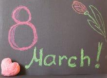 8 maart op zwarte achtergrond Stock Afbeeldingen