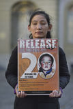 10 Maart-Opstand Dag 2017 in Tibet, Bern zwitserland Stock Foto