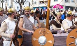 17 Maart 2019 - Portugese Geschiedenisparade tijdens Sao Jose Celebration van de Vadersdag in Povoa DE Lanhoso, Portugal royalty-vrije stock foto's