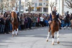 17 Maart 2019 - Portugese Geschiedenisparade tijdens Sao Jose Celebration van de Vadersdag in Povoa DE Lanhoso, Portugal royalty-vrije stock afbeeldingen