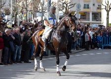 17 Maart 2019 - Portugese Geschiedenisparade tijdens Sao Jose Celebration van de Vadersdag in Povoa DE Lanhoso, Portugal stock foto