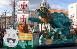 17 Maart 2019 - Portugese Geschiedenisparade tijdens Sao Jose Celebration van de Vadersdag in Povoa DE Lanhoso, Portugal stock fotografie