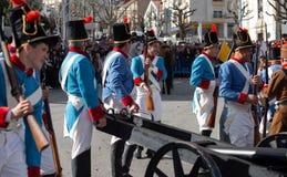 17 Maart 2019 - Portugese Geschiedenisparade tijdens Sao Jose Celebration van de Vadersdag in Povoa DE Lanhoso, Portugal stock foto's