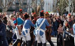 17 Maart 2019 - Portugese Geschiedenisparade tijdens Sao Jose Celebration van de Vadersdag in Povoa DE Lanhoso, Portugal royalty-vrije stock afbeelding