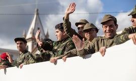 17 Maart 2019 - Portugese Geschiedenisparade tijdens Sao Jose Celebration van de Vadersdag in Povoa DE Lanhoso, Portugal royalty-vrije stock fotografie