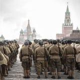 Maart in Rood Vierkant, Moskou, Rusland Royalty-vrije Stock Afbeelding