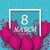 8 Maart Roze Bloemengroetkaart Internationale Gelukkige Vrouwen` s Dag Document achtergrond van de snijbloem de blauwe vakantie m vector illustratie
