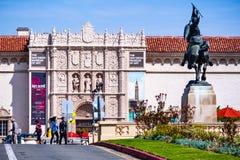 Maart 19, 2019 San Diego/CA/de V.S. - Plein DE Panama en San Diego Museum van Kunst in Balboapark royalty-vrije stock foto