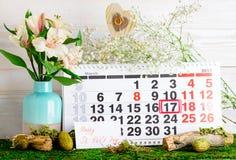 17 maart St Patrick ` s Dag op de kalender Royalty-vrije Stock Foto's