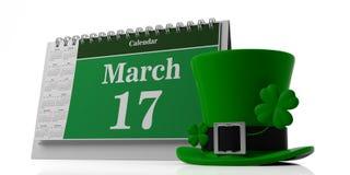 17 maart, St Patricks Dag op kalender en kabouterhoed op witte achtergrond wordt geïsoleerd die 3D Illustratie Royalty-vrije Stock Foto's
