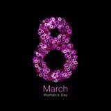 8 maart - Symbool van Internationale Vrouwen` s dag met heldere rode purpere roze bloemenachtergrond Vector illustratie Royalty-vrije Stock Afbeeldingen