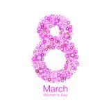 8 maart - Symbool van Internationale Vrouwen` s dag met heldere rode purpere roze bloemenachtergrond Vector illustratie Royalty-vrije Stock Fotografie