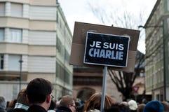 Maart tegen Charlie Hebdo-de aanval van het tijdschriftterrorisme, op 7 Januari, 2015 in Parijs Stock Foto's