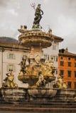 30 maart 2018 Trento, Italië De fontein van Neptunus Royalty-vrije Stock Fotografie