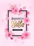8 maart-van de achtergrond verkooplente ontwerp stock illustratie