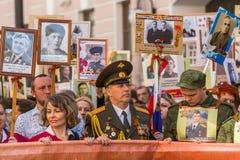 Maart van Onsterfelijk Regiment, vastgesteld aan 71ste verjaardag van de Overwinning in de grote Patriottische oorlog Royalty-vrije Stock Foto