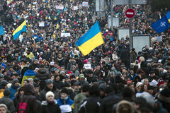 Maart van solidariteit tegen terrorisme in Kiev Royalty-vrije Stock Foto