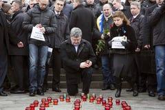 Maart van solidariteit tegen terrorisme in Kiev Stock Foto