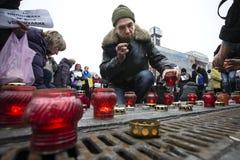 Maart van solidariteit tegen terrorisme in Kiev Royalty-vrije Stock Afbeeldingen