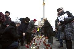 Maart van solidariteit tegen terrorisme in Kiev Stock Foto's