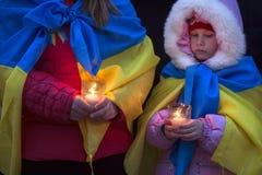 Maart van solidariteit tegen terrorisme in Kiev Royalty-vrije Stock Fotografie