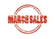 Maart-verkoop Rode uitstekende rubberdiezegel op witte achtergrond wordt geïsoleerd stock afbeelding