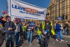 Maart voor brexitverdedigers op 29 Maart 2019 stock foto's