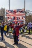 Maart voor brexitverdedigers op 29 Maart 2019 stock afbeelding