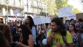 Maart voor het klimaat - Ecologische demonstratie De Zaterdag van Parijs Frankrijk, 08 September, 2018 stock footage