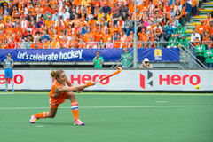 Maartje Paumen. THE HAGUE, NETHERLANDS - JUNE14: Captain Maartje Paumen of the Dutch womens field hockey team scores 1-0 against Australia during the finals of Royalty Free Stock Images