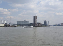 Maas and skyline Rotterdam Stock Image