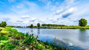 The Maas-Waal Canal in center of the Netherlands. The Maas-Waal Canal near the town of Malden. The canal connect the Maas and Waal rivers in center of the royalty free stock photos