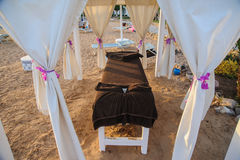 Maasage. Massage table in red sea beach tropical location sand hotel Royalty Free Stock Images