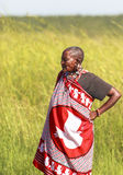 MAASAI人在马塞人玛拉公园,肯尼亚 免版税库存图片