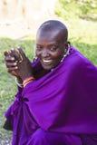 MAASAI人在马塞人玛拉公园,肯尼亚 库存图片