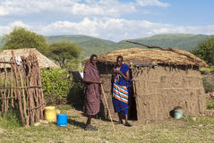 MAASAI人在马塞人玛拉公园,肯尼亚 图库摄影