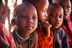 Maasai子项在学校在坦桑尼亚,非洲 库存照片