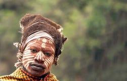 Maasai при его покрашенная сторона Стоковые Фотографии RF